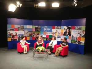 Taping a show about SIU.  From left to right:  Ha Quyen, host; Cheryl Ernst; Kimberly Leonard, Dean, SIU College of Liberal Arts; and Nam, SIU alumnus.