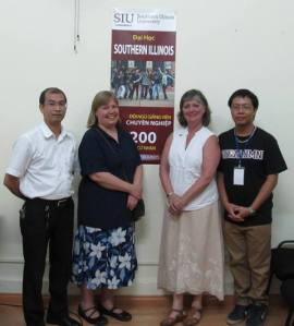After an info session in Capstone Vietnam's Hanoi office.  Cheryl, Kimberly and two SIU alumni.