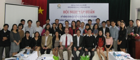 Post-workshop group photo with Dr. Nguyễn Kim Sơn, Vice President, VNU-Hanoi (to my left), and other VNU colleagues.