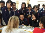 Vietnamese students gathering information about US higher education.