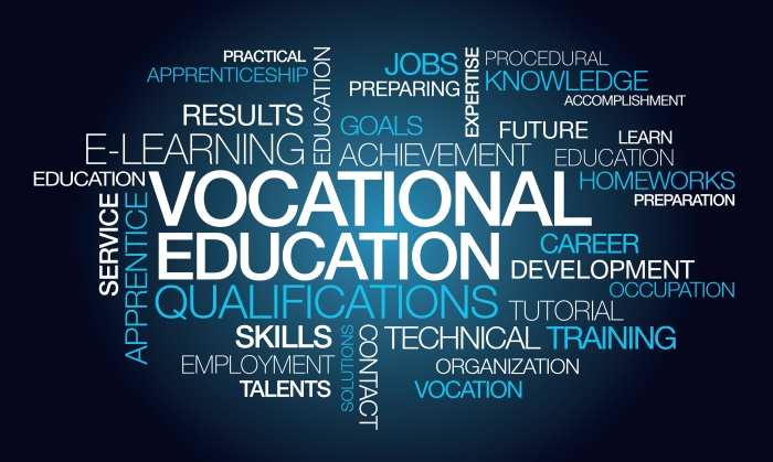 Vocational education qualifications training word tag cloud