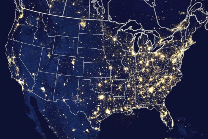 us map at night 2018 nasa